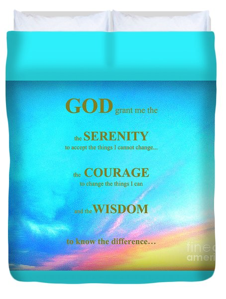 Duvet Cover featuring the painting Serenity Prayer by Shelia Kempf