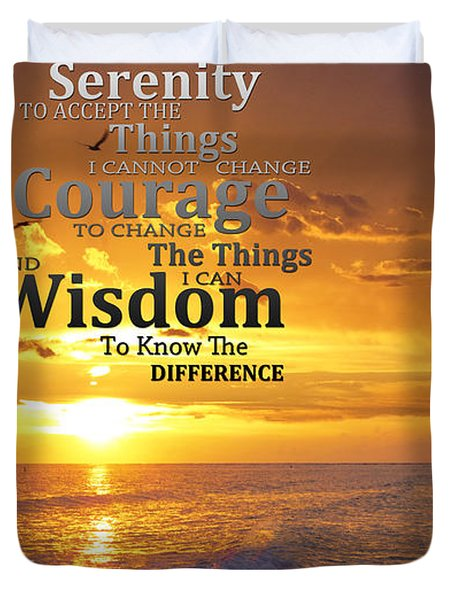 Serenity Prayer With Sunset By Sharon Cummings Duvet Cover