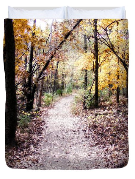 Duvet Cover featuring the photograph Serenity Walk In The Woods by Peggy Franz