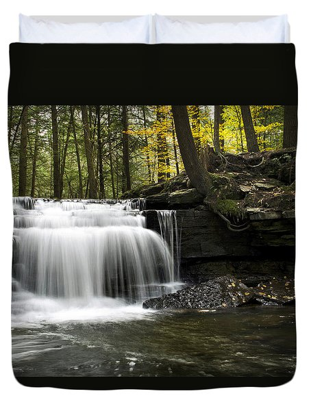 Duvet Cover featuring the photograph Serenity Waterfalls Landscape by Christina Rollo