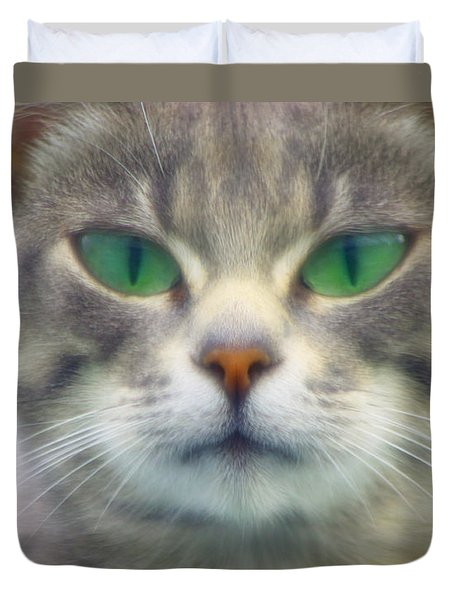 Duvet Cover featuring the photograph Serious by Adria Trail