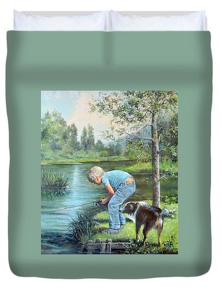 Duvet Cover featuring the painting Seth And Spiky Fishing by Donna Tucker