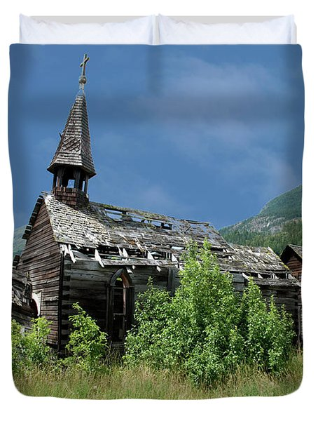 Duvet Cover featuring the photograph Seton Portage Church by Rod Wiens