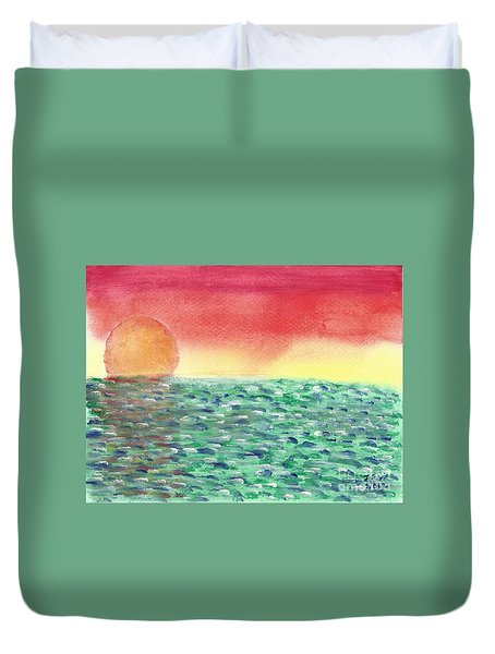 Duvet Cover featuring the painting Setting Sea by John Williams