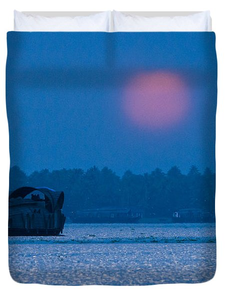 Setting Sun And Boat Duvet Cover