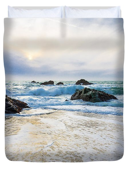 Setting Sun And Rising Tide Duvet Cover