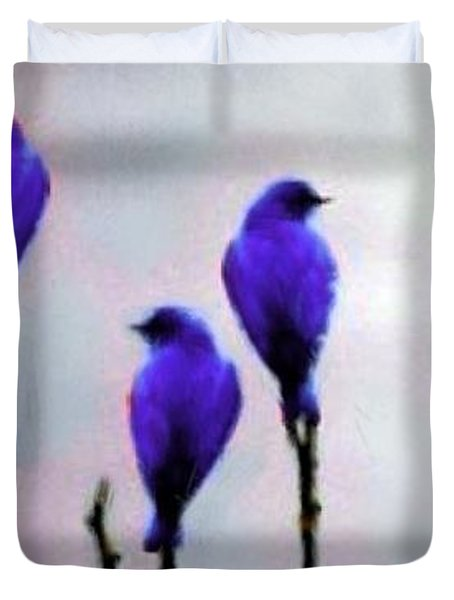 Seven Birds Of Purple Duvet Cover by Bruce Nutting