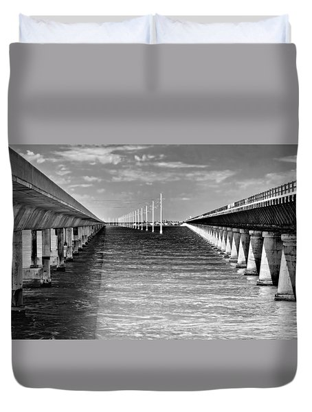 seven mile bridge BW Duvet Cover by Rudy Umans