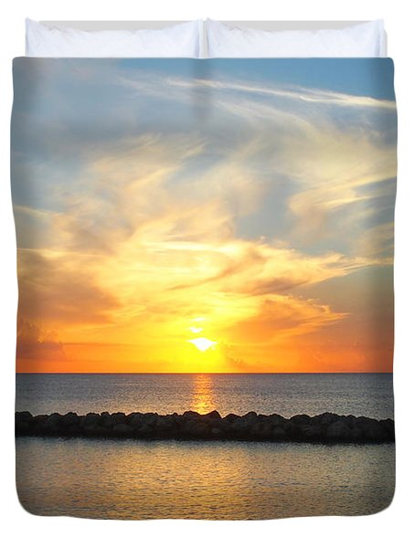 Duvet Cover featuring the photograph Seven Mile Sunset Over Grand Cayman by Amy McDaniel