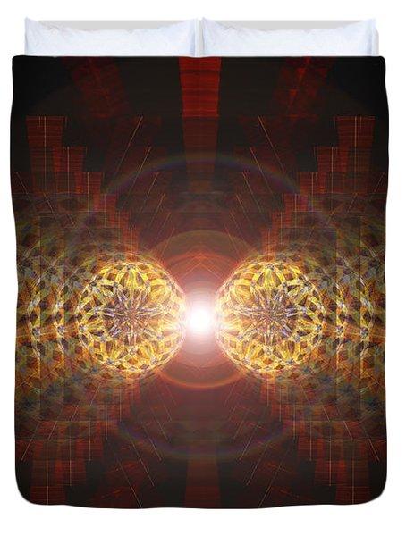 Duvet Cover featuring the drawing Seven Sacred Steps Of Light by Derek Gedney