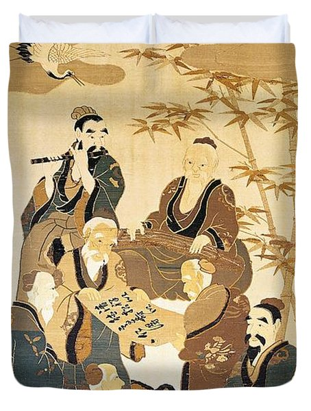 Seven Wise Men In The Bamboo Forest Painted Silk Duvet Cover