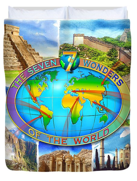 Seven Wonders Of The World Duvet Cover