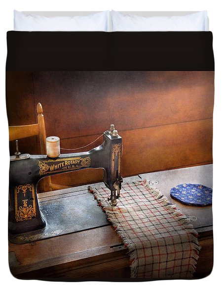 Sewing - It's Just Black And White  Duvet Cover by Mike Savad