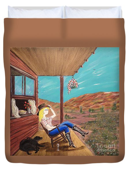 Sexy Cowgirl Sitting On A Chair At High Noon Duvet Cover by John Lyes