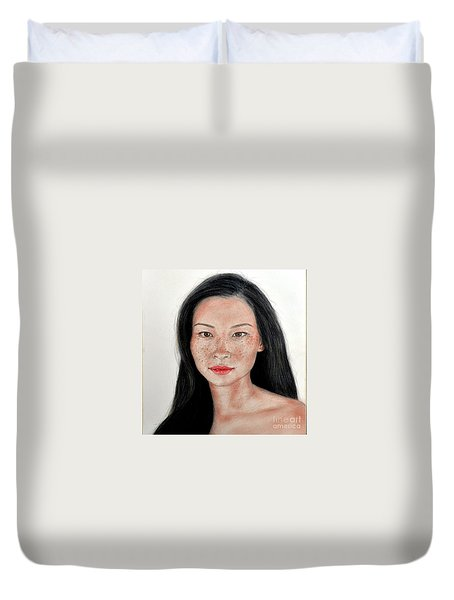 Sexy Freckle Faced Beauty Lucy Liu Duvet Cover by Jim Fitzpatrick