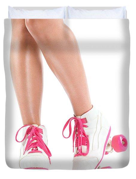 Sexy Girl Legs In White Pink Roller Skates Duvet Cover