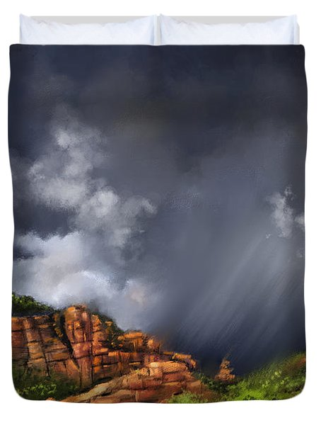 Thunderstorm In Sedona Duvet Cover