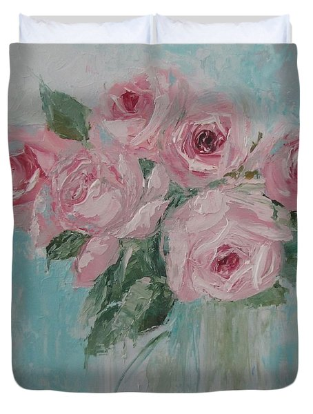 Shabby Chic Pink Roses Oil Palette Knife Painting Duvet Cover