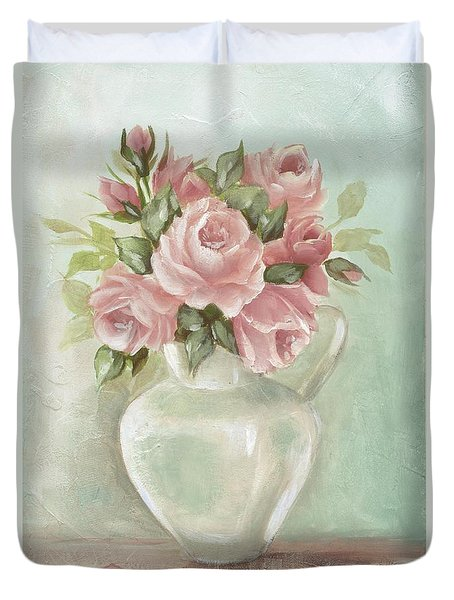 Shabby Chic Pink Roses Painting On Aqua Background Duvet Cover by Chris Hobel