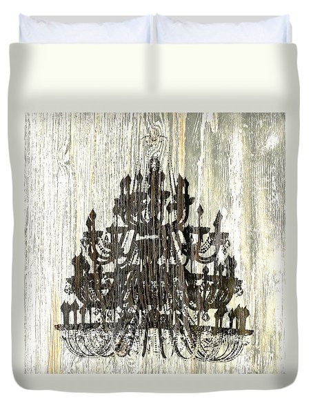 Duvet Cover featuring the photograph Shabby Chic Rustic Black Chandelier On White Washed Wood by Suzanne Powers
