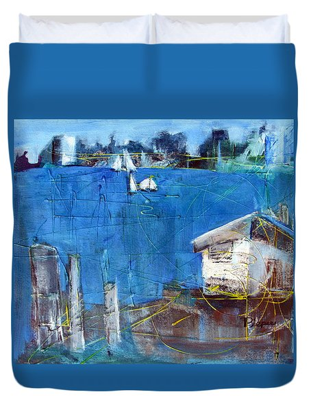 Shack On The Bay Duvet Cover by Betty Pieper