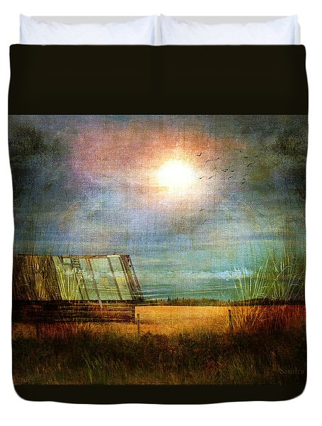 Duvet Cover featuring the photograph Shack On The Prairie Corner  by Sandra Foster
