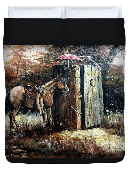 Shade For My Horse Duvet Cover by Lee Piper