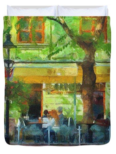 Shaded Cafe Duvet Cover by Jeff Kolker