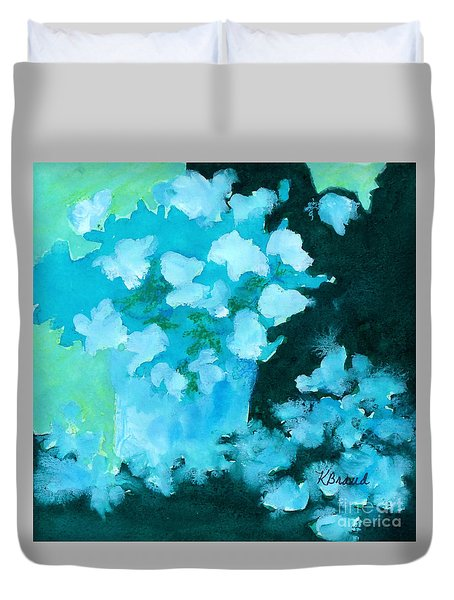Shades Of Green And Light Duvet Cover by Kathy Braud