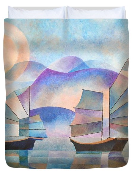 Duvet Cover featuring the painting Shades Of Tranquility by Tracey Harrington-Simpson