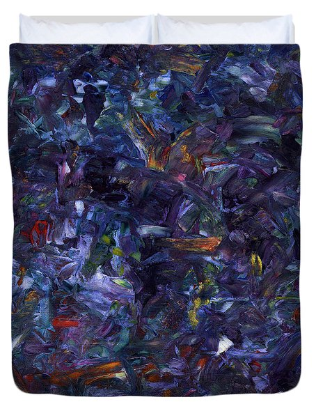 Duvet Cover featuring the painting Shadow Blue Square by James W Johnson