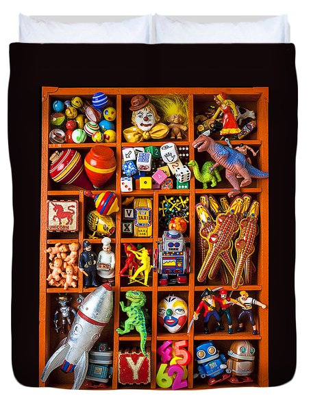 Shadow Box Full Of Toys Duvet Cover by Garry Gay