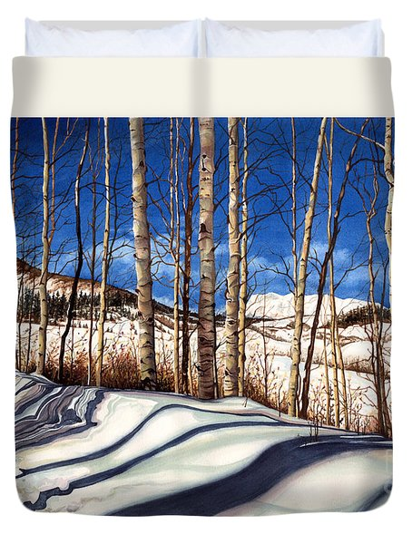 Duvet Cover featuring the painting Shadow Dance by Barbara Jewell