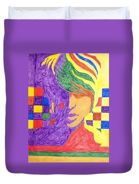 Duvet Cover featuring the painting Prince Gemini   by Stormm Bradshaw