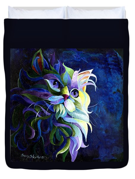 Shadow Puss Duvet Cover by Sherry Shipley