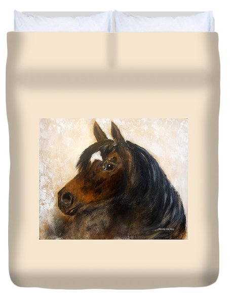 Duvet Cover featuring the painting Shadow by Barbie Batson