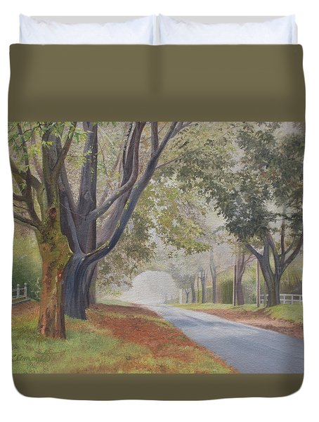 Shadow And Fog Down Beautiful Atlantic Avenue Duvet Cover