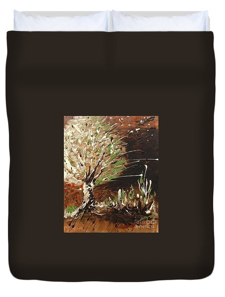Duvet Cover featuring the painting Shadows by Holly Carmichael
