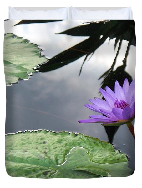 Shadows On A Lily Pond Duvet Cover by Eric  Schiabor