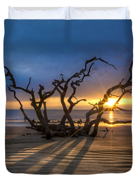 Shadows On The Sand Duvet Cover by Debra and Dave Vanderlaan