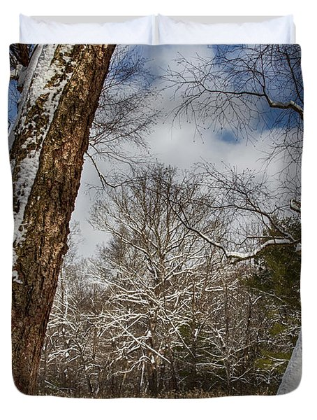 Shadows On The Snow Duvet Cover by John Haldane