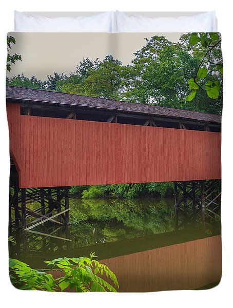Shaeffer Or Campbell Covered Bridge Duvet Cover by Jack R Perry