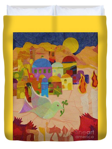 Duvet Cover featuring the mixed media Shalom  by Diane Miller