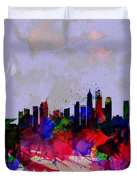 Shanghai Watercolor Skyline Duvet Cover