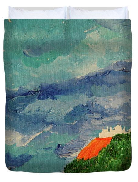 Duvet Cover featuring the painting Shangri-la by First Star Art