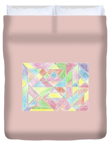 Duvet Cover featuring the drawing Shapes Of Colour by Tracey Williams