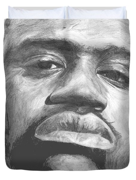 Duvet Cover featuring the drawing Shaq by Tamir Barkan