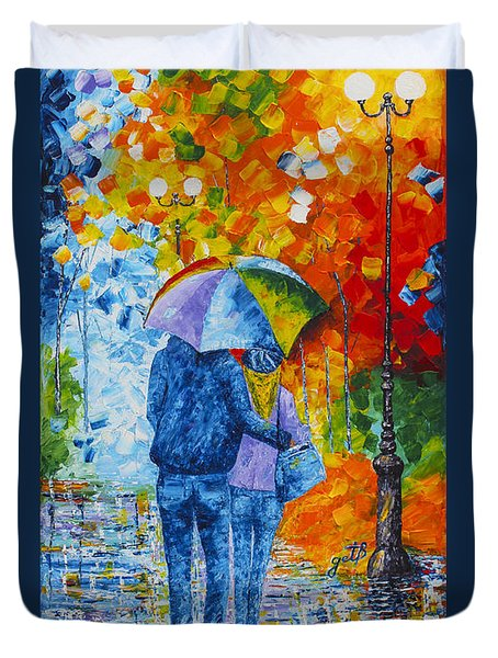 Duvet Cover featuring the painting Sharing Love On A Rainy Evening Original Palette Knife Painting by Georgeta Blanaru