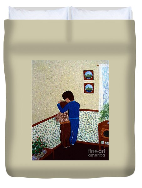 Sharing The Punishment Duvet Cover by Barbara Griffin