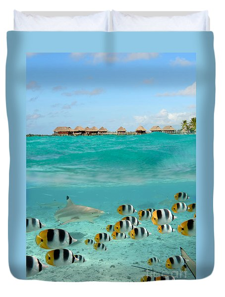 Over-under With Shark And Butterfly Fish At Bora Bora Duvet Cover